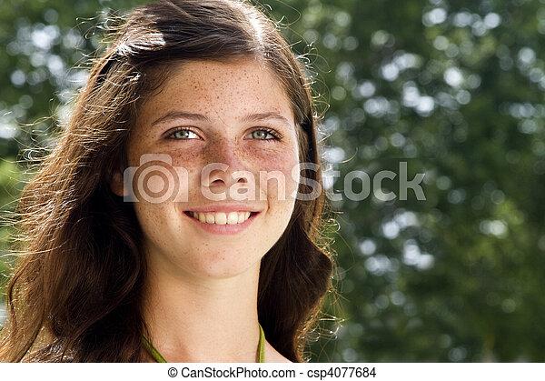 Freckled Face Cutie Pie - csp4077684