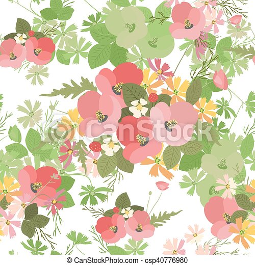 Floral background poppy and cosmos strawberries vector illustration - csp40776980