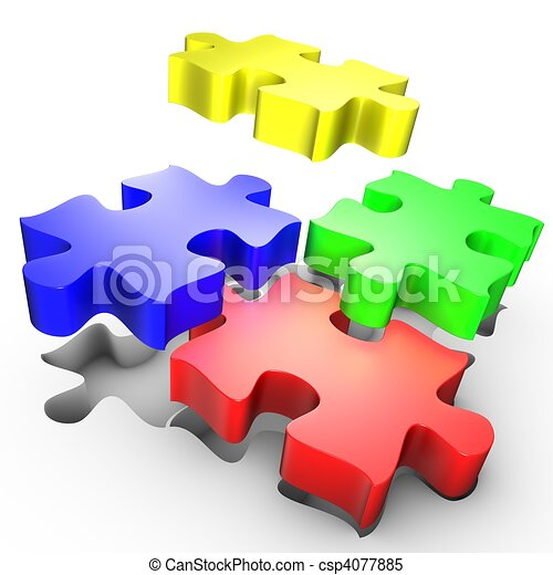 The placement of colored pieces of puzzle - csp4077885