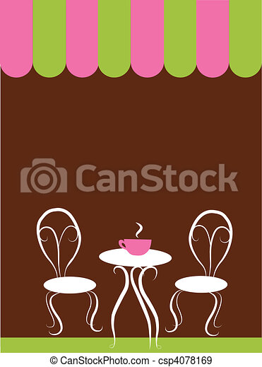 two chairs and table in a coffee shop - csp4078169
