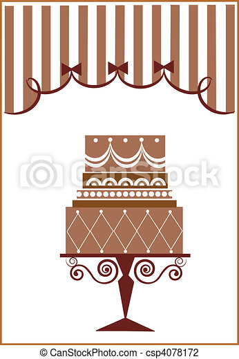 big birthday cake and party  - csp4078172