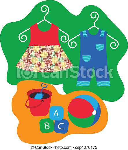 baby clothes hanging on clothes hanger and baby toys - csp4078175