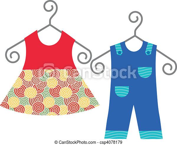baby clothes hanging on clothes hanger  - csp4078179