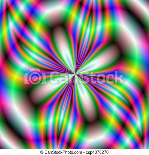 Stock Illustration of Neon Flower - Computer generated ...