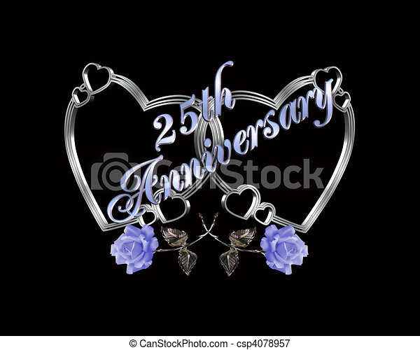 25th anniversary silver hearts csp4078957 Illustration for 25Th wedding