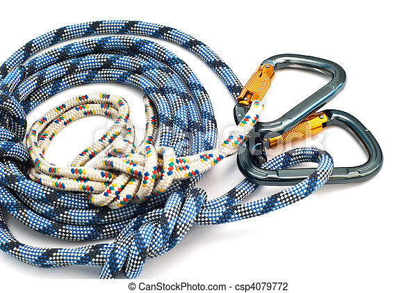 carabiners without scratches and blue rope - csp4079772