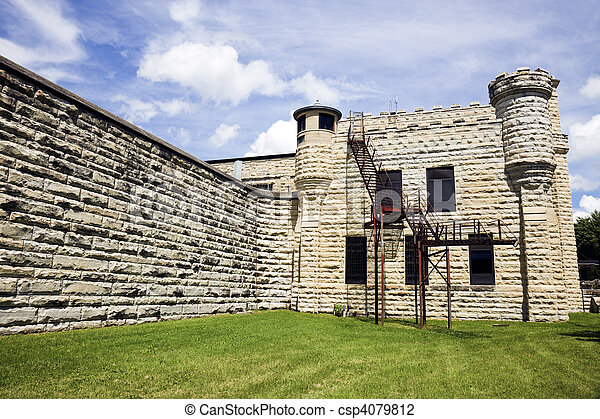 Walls of historic Jail in Joliet, Illinois - csp4079812
