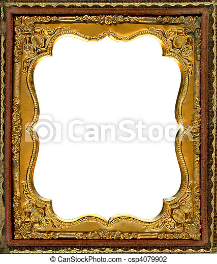 ornate gold metal picture frame from the 1850s this type of frame was used to house early style photos such as daguerreotypes ambrotypes and tintypes