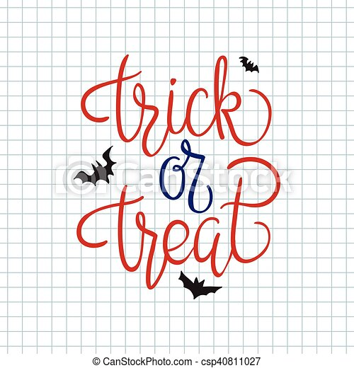 Vector - Trick or treat. Quote. Halloween poster - stock illustration ...