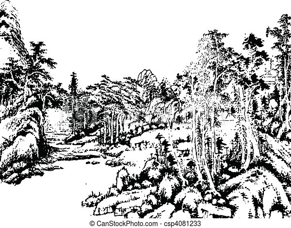 Chinese landscape painting - csp4081233