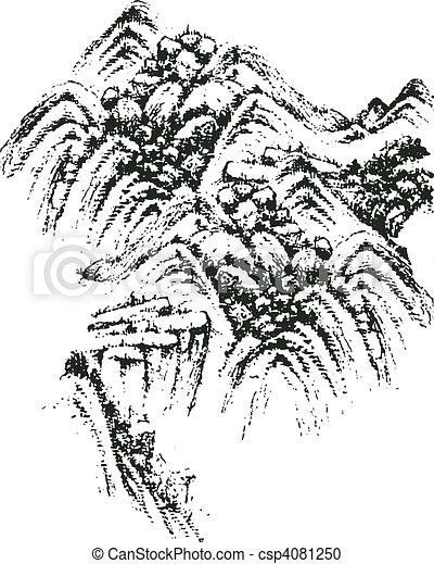 Chinese landscape painting  - csp4081250