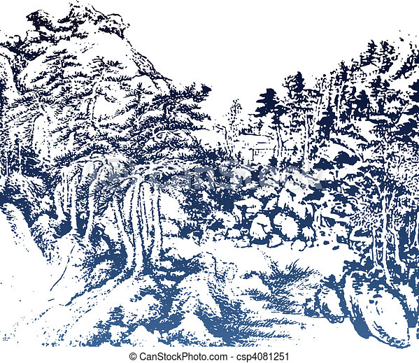 vector clip art of chinese landscape painting chinese landscape painting csp4081251 search Japanese Cloud Clip Art Ocean Wave Clip Art