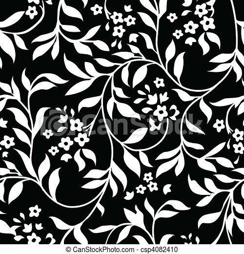 Vector Black Ivy Pattern - csp4082410