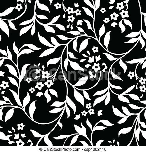 Vector Black Ivy Pattern - csp4082410