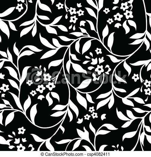 Vector Black Ivy Pattern - csp4082411