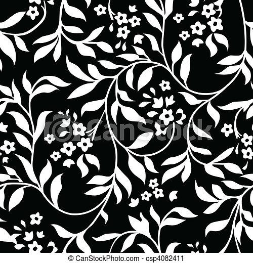 Vector Black Ivy Pattern - csp4082411