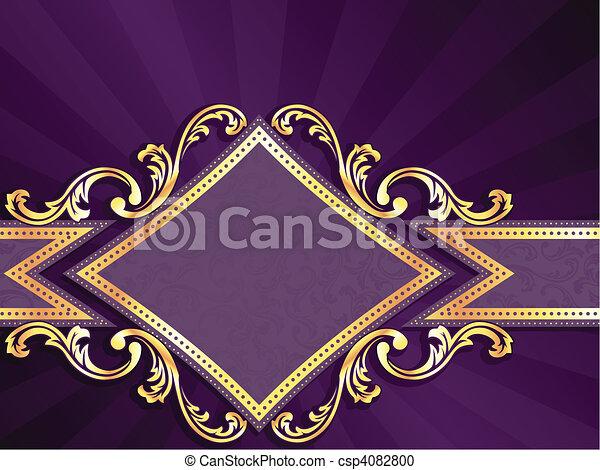 diamond shaped purple & gold banner - csp4082800