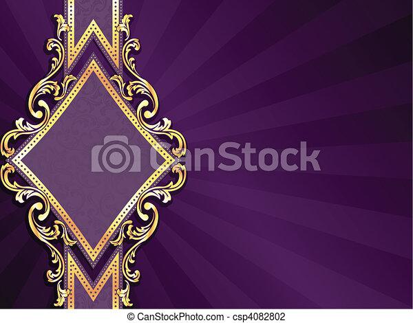 diamond shaped purple & gold banner - csp4082802