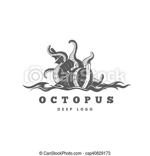 Vectors Illustration of Giant evil kraken logo, silhouette octopus ...