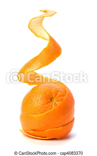Orange with double skin layer isolated on white background. Safeguard and safety concept. - csp4083370