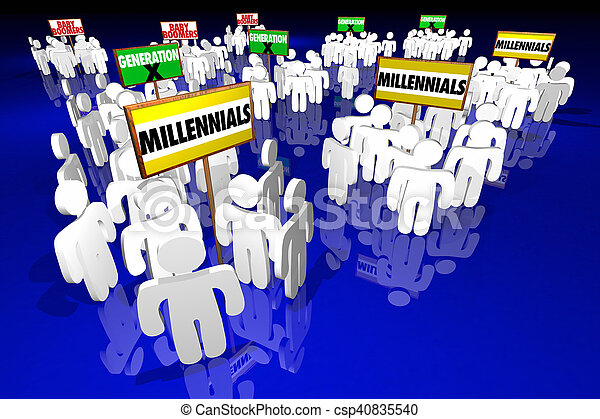 Millennials Generation X Baby Boomers People Signs 3d Illustration - csp40835540