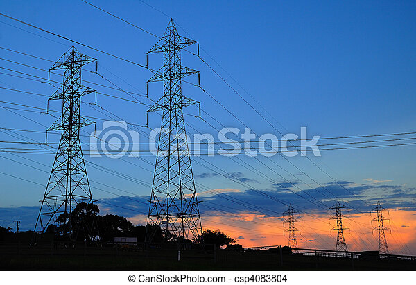 electric power lines at sunset - csp4083804