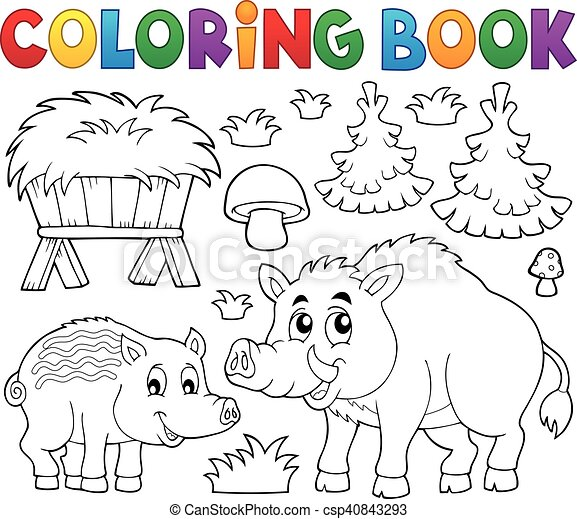 Coloring book with wild pigs theme 1 - csp40843293
