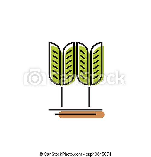 Vectors Illustration of Cereal symbol, green wheat grain vector ...