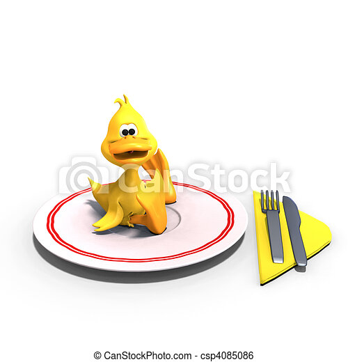 cute and funny toon duck served on a dish as a meal. 3D rendering with  and shadow over white - csp4085086
