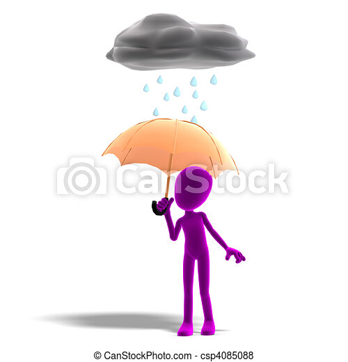 3d male icon toon character standing in the rain with an umbrella. 3D rendering with  and shadow over white - csp4085088
