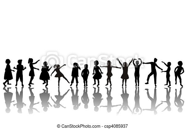 group of children silhouettes - csp4085937