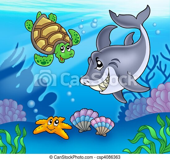 Cartoon animals underwater - csp4086363