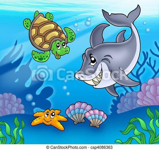 Cartoon animals underwater - csp4086363