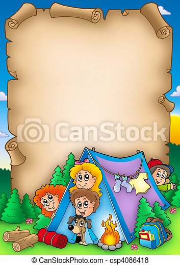 Scroll with group of camping kids - csp4086418