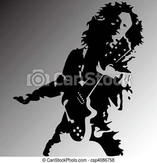 Rock guitar player silhouette - csp4086758