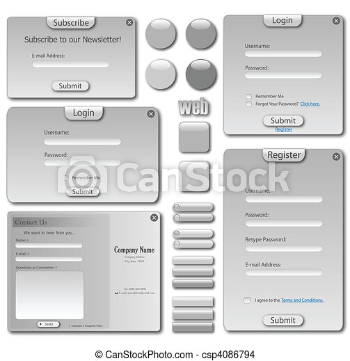 Grey Web Template - csp4086794