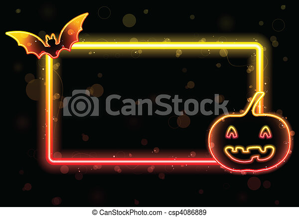 Halloween Lights Frame with Bat and Pumpkin - csp4086889