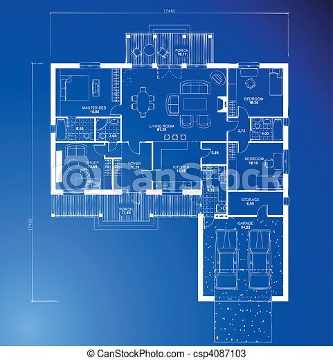 Vectors Of Architectural Blueprint Background Vector