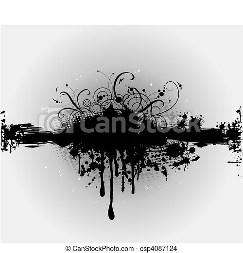 Grungy plaint or ink splatter. Vector - csp4087124