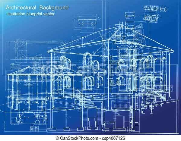 Clip Art Vector Of Architectural Blueprint Background
