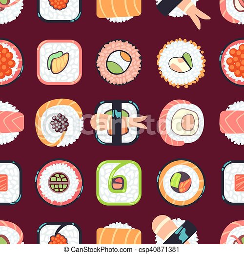 Japanese food sushi vector seamless pattern - csp40871381