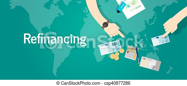 refinancing business financial investment concept debt problem - csp40877286
