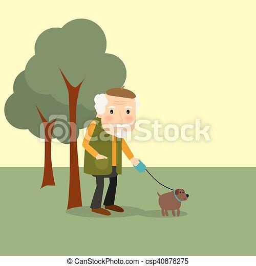 Ilustraciones vectoriales de parque perro viejo hombre