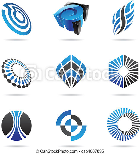 Various blue abstract icons, Set 3 - csp4087835