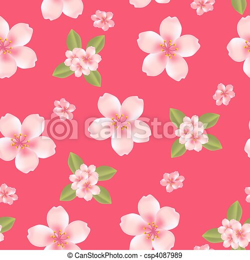 Seamless cherry blossom background - csp4087989