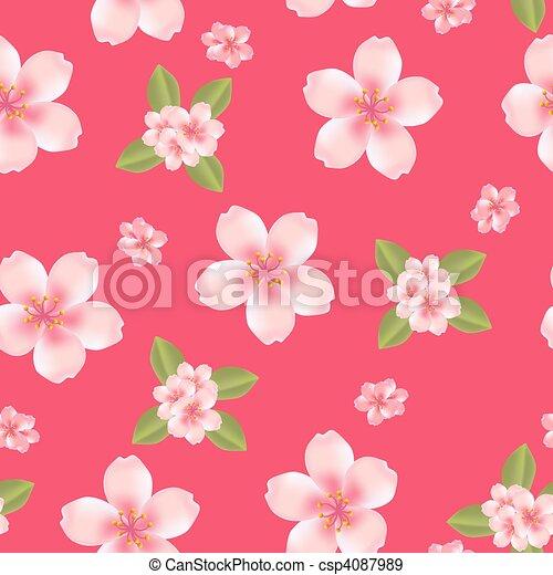 Seamless cherry blossom background  - csp4087989