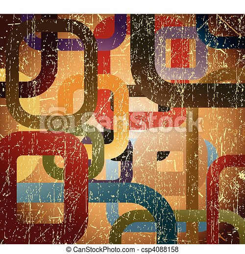 Abstract grunge square on brown background - csp4088158