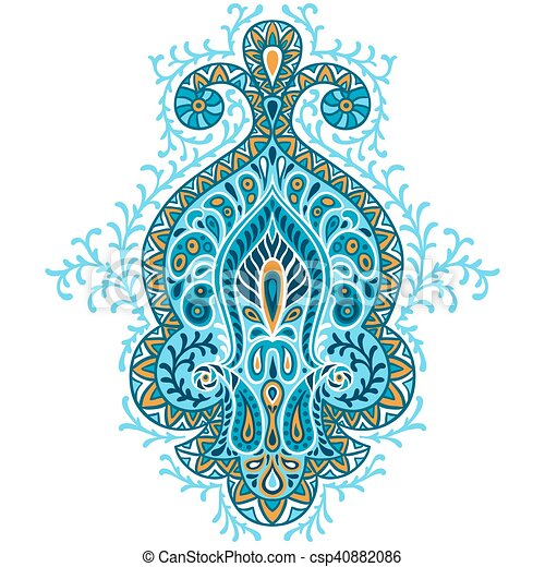 Indian ethnic ornament. Hand drawn ecorative element - csp40882086