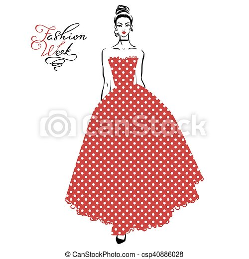 Fashionable girl in red dress - csp40886028