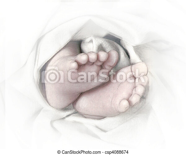 Baby feet pencil sketch - csp4088674